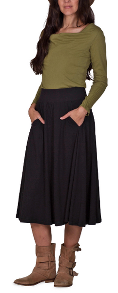 Organic cotton midi skirt - in dark black, dark red or graphite