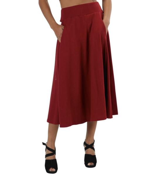 Organic cotton midi skirt - in dark red, graphite or black