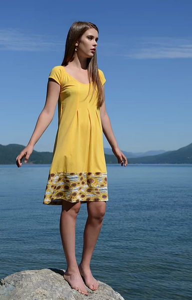 Iberia Dress - In Pagoda Blue or Sunflower - Organic Cotton