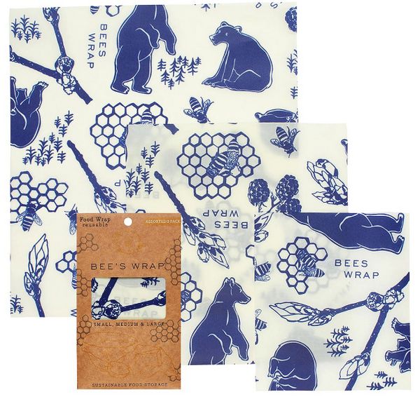 20% Off - Bee's Wrap 3-Pack: S, M, L (4 Print Choices: Honeycomb, Purple Clover, Bees & Bears & Ocean Print)