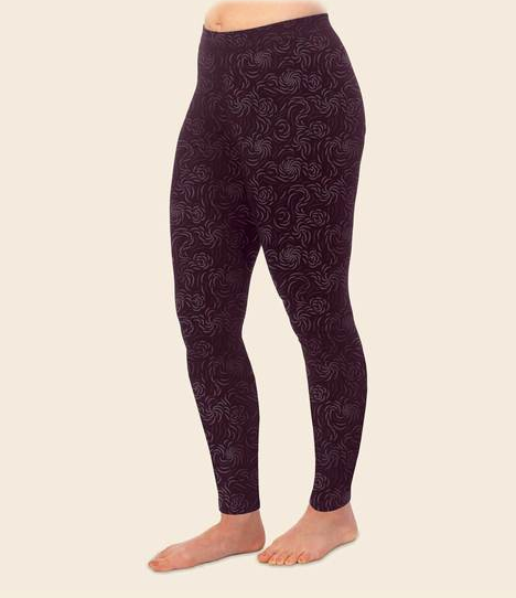 Flourish Print Organic Cotton Leggings - Aubergine