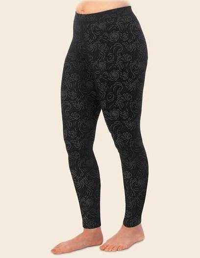 Flourish Print Organic Cotton Leggings, Black, by Maggie's Organics