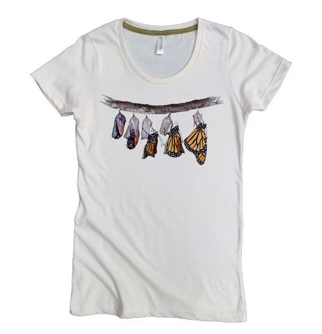 Emerging Monarch Butterfly T-Shirt 100% Organic Cotton - Women