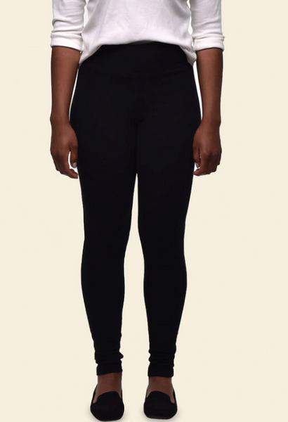 Organic Cotton Fleece Leggings - Black, Maggie's Organics