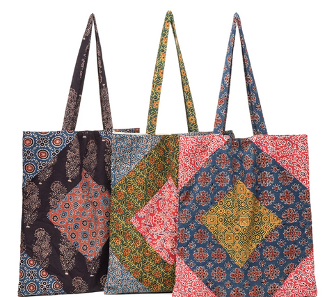 Hand Block-printed, Lined Cotton bag with interior pocket. Eco-Shopper