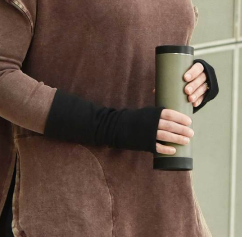 Black Arm warmers / fingerless gloves from organic cotton