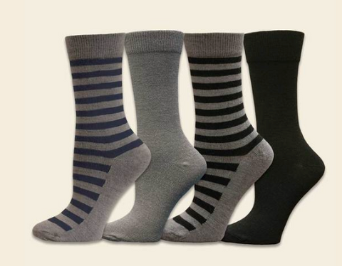 Organic Wool Crew Socks - Striped or Black