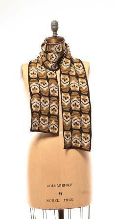 Repeating Owl Scarf, Recycled Cotton scarf, Sustainable Accessories