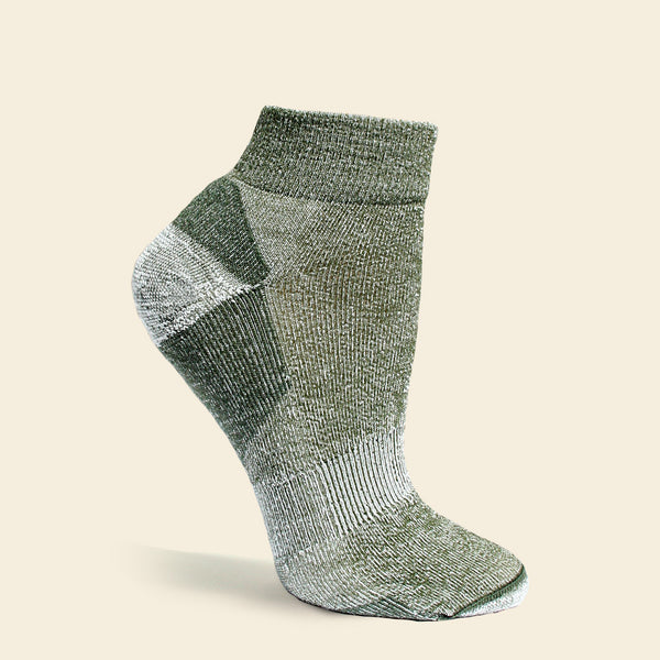 Organic Wool Urban Ankle Trail Sock, Upland Road, Maggie's Organics, Green