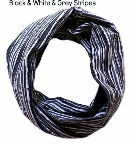 black grey and white striped hair band by maggies organics