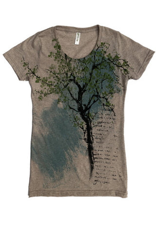 Recycled cotton women's t-shirt, Bonsai t-shirt