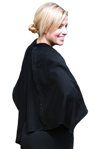 Organic Cotton Poncho / Cape - Black