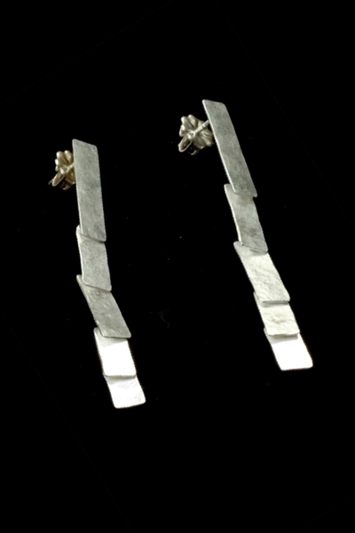 Cascade silver earrings by Sophie Hughes Jewelry. Made in the USA. Upland Road