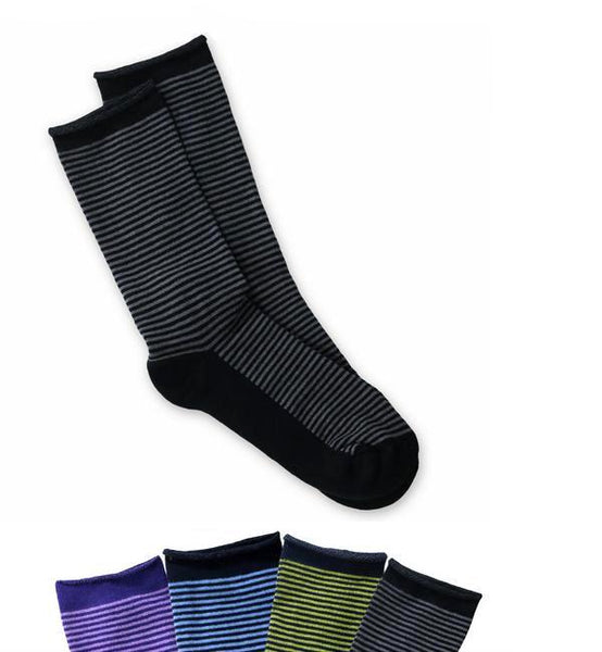 Cushion Striped Crew Socks - Organic Cotton - 4 Color Choices