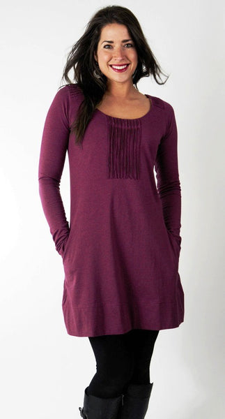 Plum Melange Eterna Organic Cotton Tunic Dress with pockets