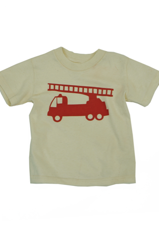 Firetruck Tee for kids, organic cotton