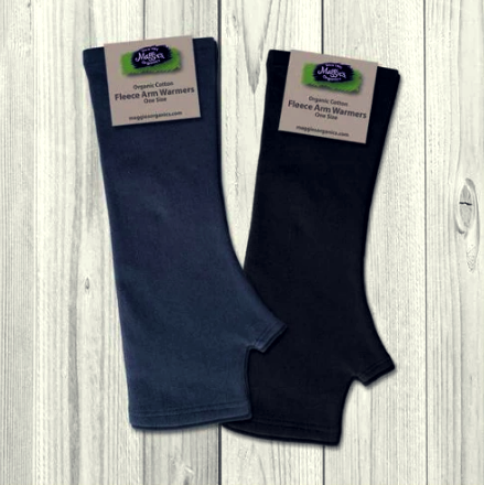Organic cotton arm warmers/ fingerless gloves in dusty blue and black
