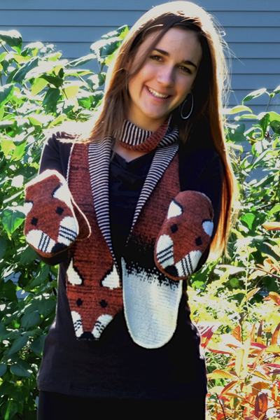 Fox scarf & fox mittens made from recycled cotton | Upland Road