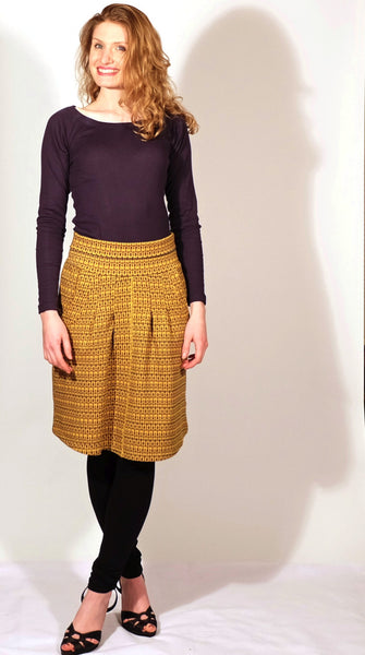 Gaya Organic Cotton Skirt - Baroque Print, Nuit Organic Cotton Shirt, Ebony Ballerina Leggings
