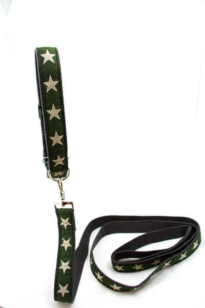 Kody Decorative Hemp Dog Collar - Green with Stars (also in Blue & Red), by earthdog
