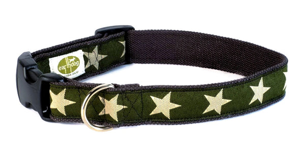 earthdog Kody Hemp Dog Collar - Green with stars | Upland Road