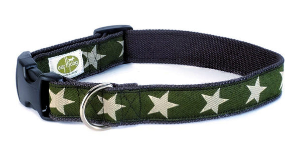 Kody Green with Stars Hemp Dog Collar by Earthdog