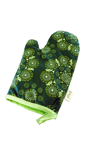 ORGANIC COTTON OVEN MITT, ORGANIC COTTON POT HOLDER GREEN
