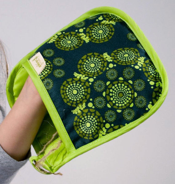 Organic Cotton Potholder - Green Print, made in USA, eco-friendly potholder