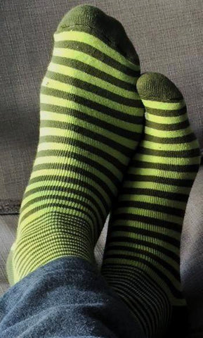 Unisex - Striped Snuggle Socks in Green, Purple, and Fuchsia & White Stripes - Organic Cotton