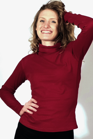 Lightweight 100% Organic Cotton Turtleneck, Burgundy