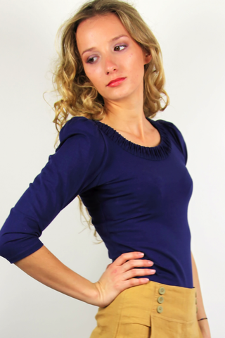 Navy Gypsy top, Women's Organic Cotton shirt