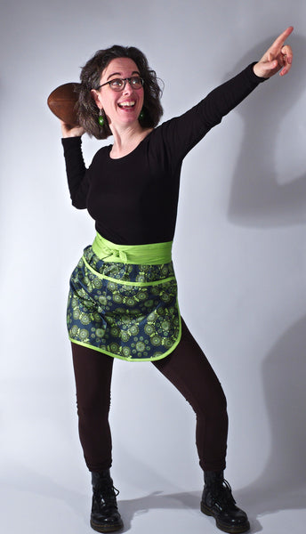 Women's organic cotton half apron in lime print, made in USA