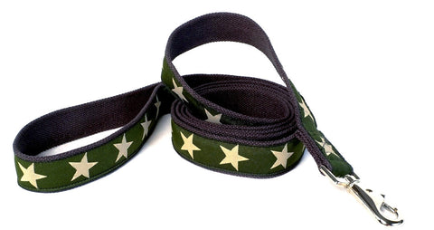 Kody Decorative Hemp Dog Leash - Green w Stars (also in Red and Blue)
