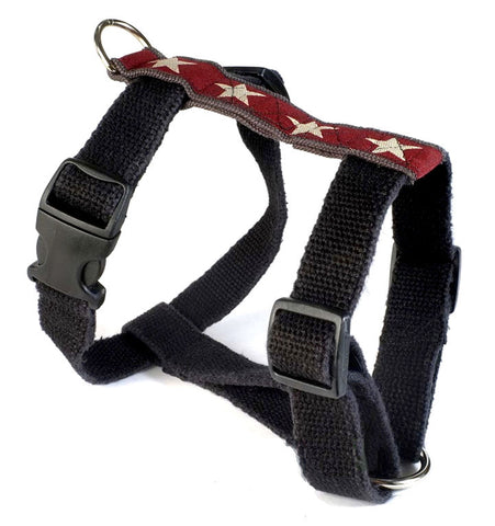 Hemp Dog Harness with Decorative Trim Red with White Stars by Earthdog