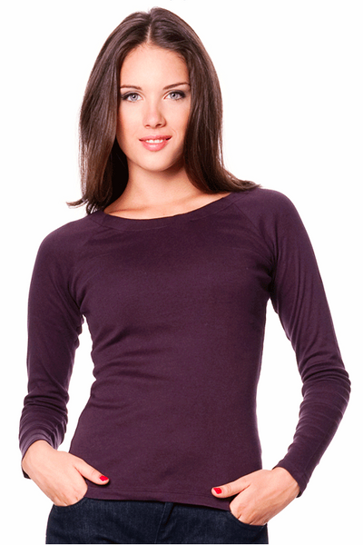 Long sleeve lightweight organic cotton scoop neck shirt | Dark Purple Aubergine