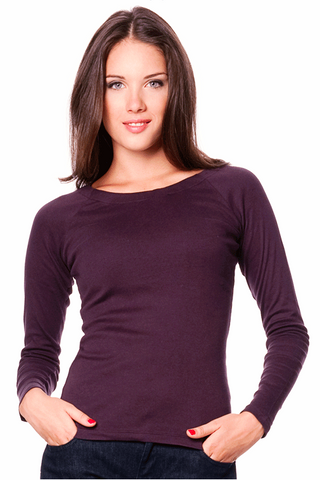 Lombarde Organic Cotton Women's Clothes, Long-sleeved Shirt, Aubergine