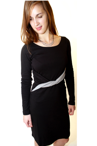 Love Dress - Organic Cotton Long-sleeve dress Black with light grey twist waistband