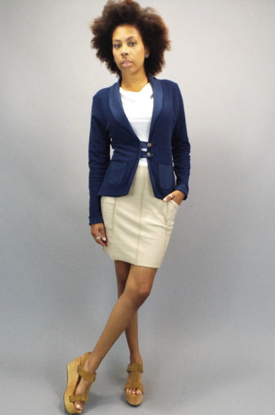 Marine Blue Tab Jacket for women, lightweight organic cotton