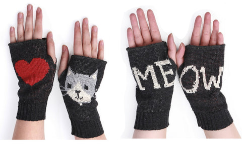 Meow Handwarmers, recycled cotton