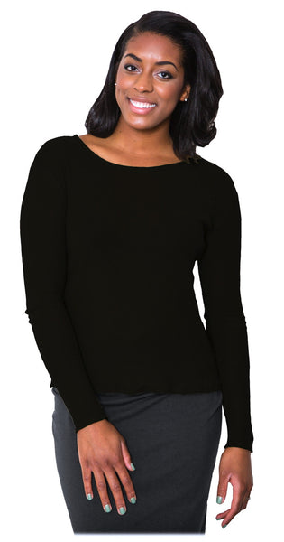 Organic Cotton Mesh Sweater Tee by Maggie's - Black