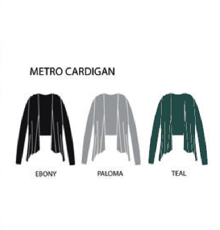 Metro Wrap, Organic cotton cardigan - Black, Teal and Paloma Grey