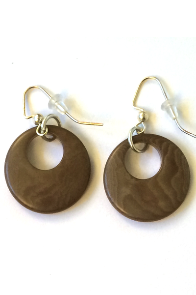 Bark colored Tagua Nut Earrings, Eco-friendly earrings