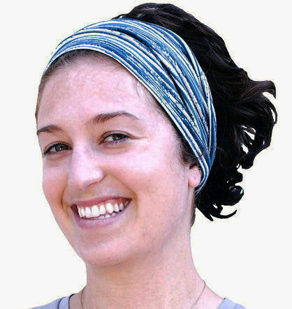 Blue Striped Wide Hairband by maggie's organics