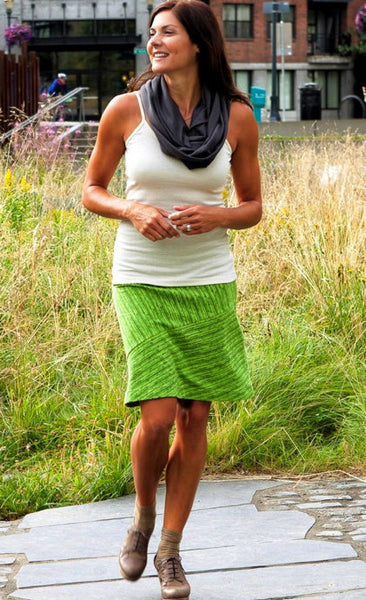 A-Line Bias-Cut Skirt - Organic Cotton, 5 Striped Color Choices + Solid Black