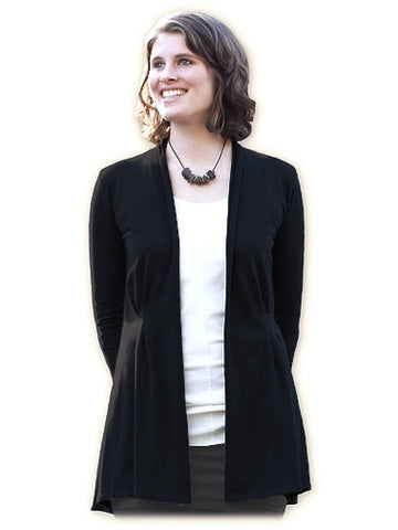 Organic Cotton Long Jacket - Maggie's Organics, Black
