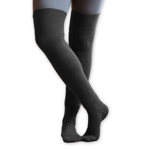 Organic Wool OVer the Knee Socks in Granite/Grey