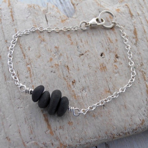 Tiny pebbles bracelet w sterling silver chain