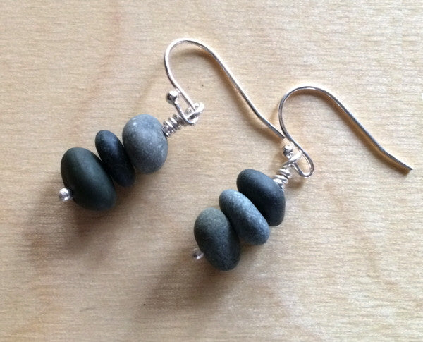 Tiny pebble stack earrings , sustainable jewelry