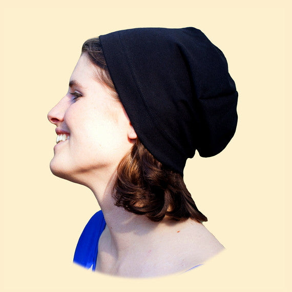 Organic Cotton Hat, People's Beanie, Black side view