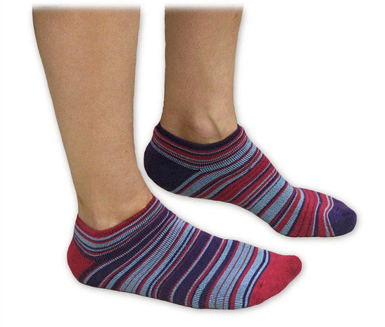 Striped Organic Cotton Footie Socks - Fuschia, Purple, Blue